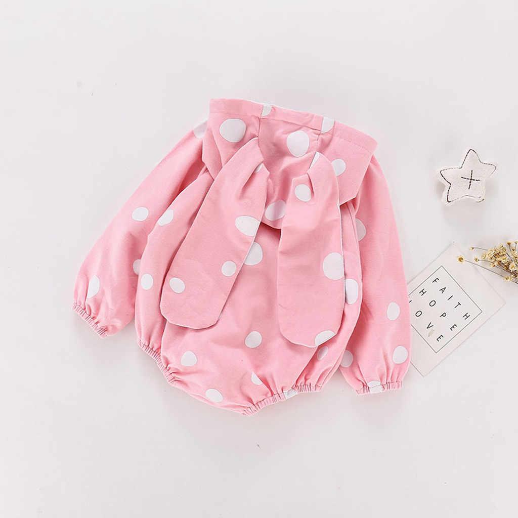 Детское боди в горошек с заячьими ушками; хлопковый комбинезон с капюшоном и длинными рукавами для девочек; Повседневный зимний комбинезон для маленьких мальчиков; домашняя пижама