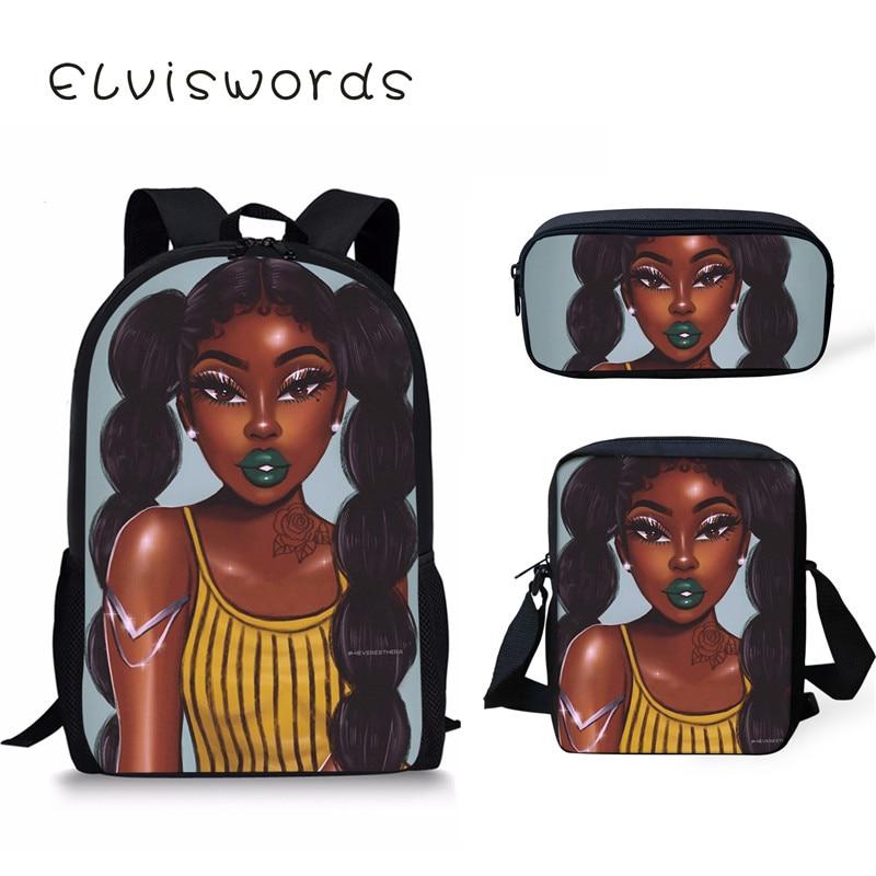 Black Queen African American Girls Printing School bag Set for Teenage Bookbag Children Kids Scool Bag sprayground