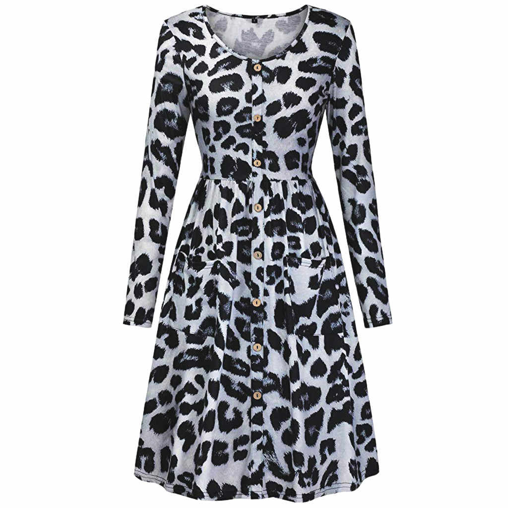 Luipaard V-hals Spring Fashion Runway Vintage Maxi Jurken vrouwen Lange Mouw Retro Bloemenprint Holiday Party Lange Jurk