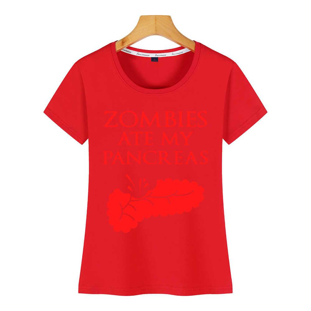 トップス tシャツ女性ゾンビ ate 私膵臓糖尿病ハロウィンコミック碑文プリント女性 tシャツ