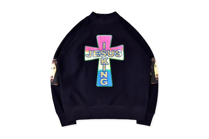 1:1 Best Quality Kanye West Jesus Is King Turtleneck Sweatshirts Men Women Sunday Service Cross Printed Cotton Men Pullovers