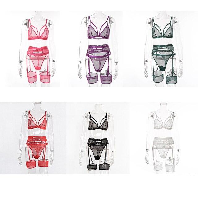 Spitze Sexy Dessous Set Unterwäsche für Frauen Transparente Bh Dessous 3 Stück Set Spitze Unterwäsche 6