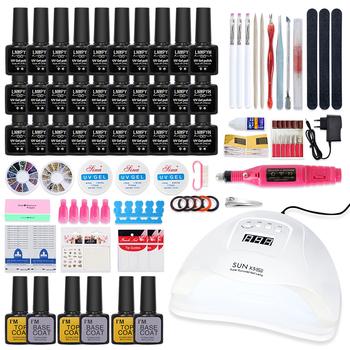 Zestaw do paznokci 54 24W UV LED lampa susząca suszenia paznokci lakier do paznokci żel kolorowy zestaw narzędzia do paznokci lakier do paznokci zestaw przyborów do manicure zestaw do paznokci tanie i dobre opinie LNWPYH CN (pochodzenie) nails Set for nails Tools 1 set Z tworzywa sztucznego gel nail set 54W 24w 84w 30 20 12 10 colors