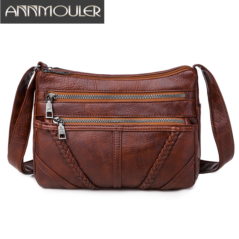 Annmouler Vintage Women Bag Soft Pu Leather Crossbody Bag Brown Washed Shoulder Bag Brand Women Handbag For Girls Messenger Bag