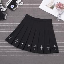 Women Harajuku Sweet Fresh Feeling High Waist Pleated Skirt Elastic Waist Cross Embroidery Skirt Pleated Skirt