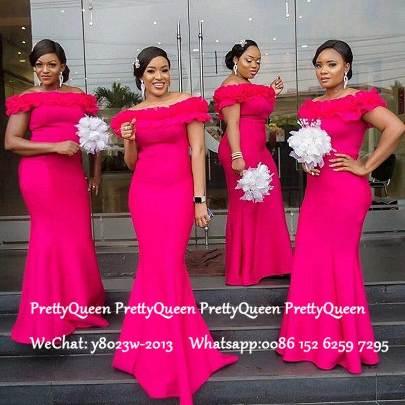 Hot Pink Mermaid   Bridesmaid     Dresses   Long Ruffles Off Shoulder Robe Demoiselle D'honneur Wedding Guest   Dress   For Women
