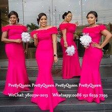Hot Pink Mermaid Bridesmaid Dresses Long Ruffles Off Shoulde