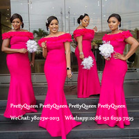 Hot Pink Mermaid Bridesmaid Dresses Long Ruffles Off Shoulder Robe Demoiselle D'honneur Wedding Guest Dress For Women