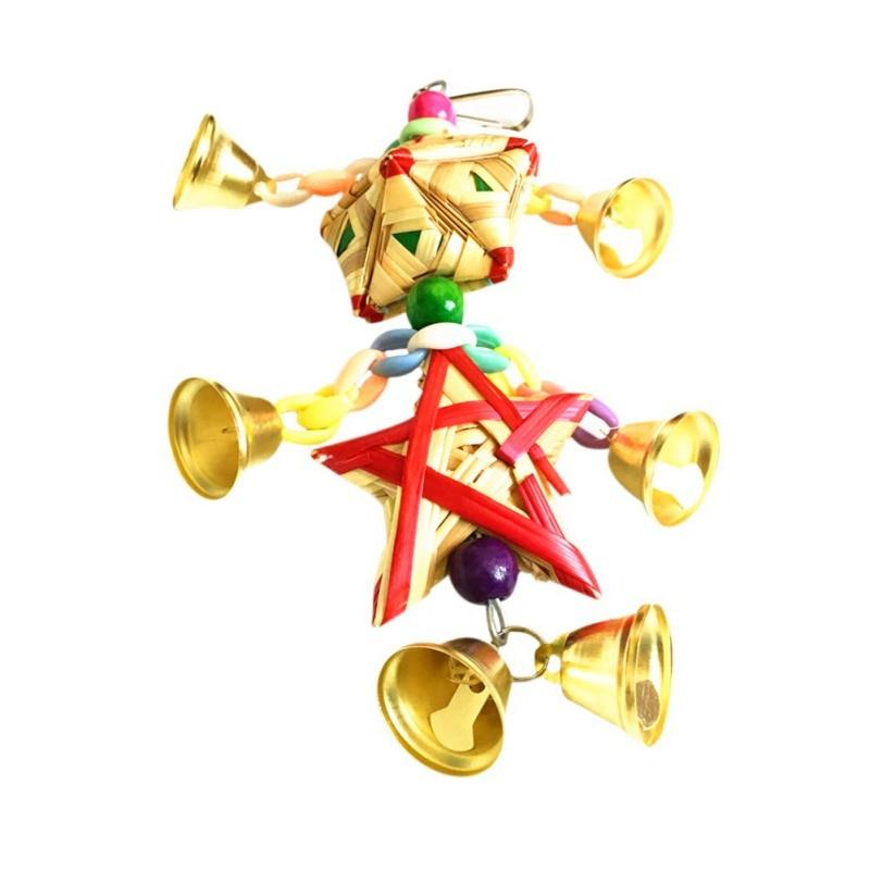 Loro juguetes colgantes campana Juguetes Para loros pájaro ardilla cadena divertida columpio juguete para mascotas pájaro suministros hierba Natural juguete tejido