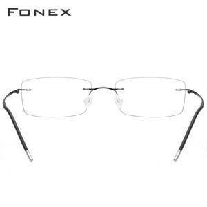 Image 5 - フチなしのメガネフレーム、チタン合金超軽い処方スクエアメガネのフレーム、男女通用の近視光学メガネ 3126