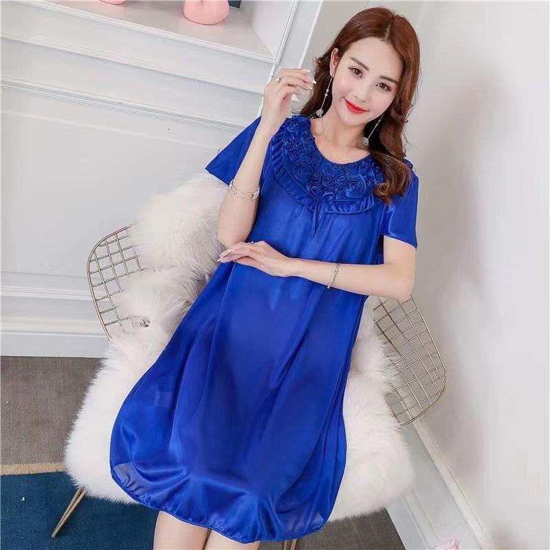 Women Nightgowns Sexy Satin Silk Soft Nightwear Plus Size S-XL Lace Sleepwear Dress Sexy Lingerie Robe Mini Homedress Nightdress 2