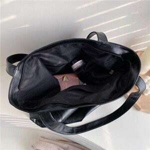 Image 4 - Burminsa בציר גדול קיבולת רך כתף תיק לנשים משרד גבירותיי עבודה גדולה A4 תיקי גבוהה באיכות עור מפוצל לשאת שקיות
