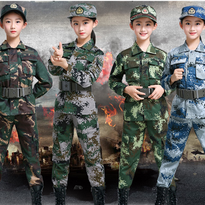 Army Outdoors Military Uniform Special Forces Kids Costumes Soldier Baby Girl Army Boy Tactical Acket Stage Clothing Halloween