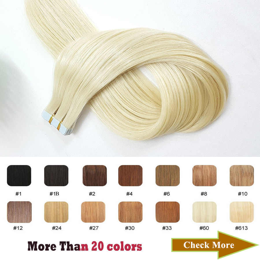 ShowCoco Blonde Tape In Extension 100% Human Hair Natural Machine-Made Remy Adhesive Tape 20/40pcs Tape In Human Hair Extensions