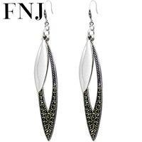 FNJ 925 Silver Earrings MARCASITE New Fashion Original S925 Sterling Silver Statement Leaf Drop Earring for Women Jewelry
