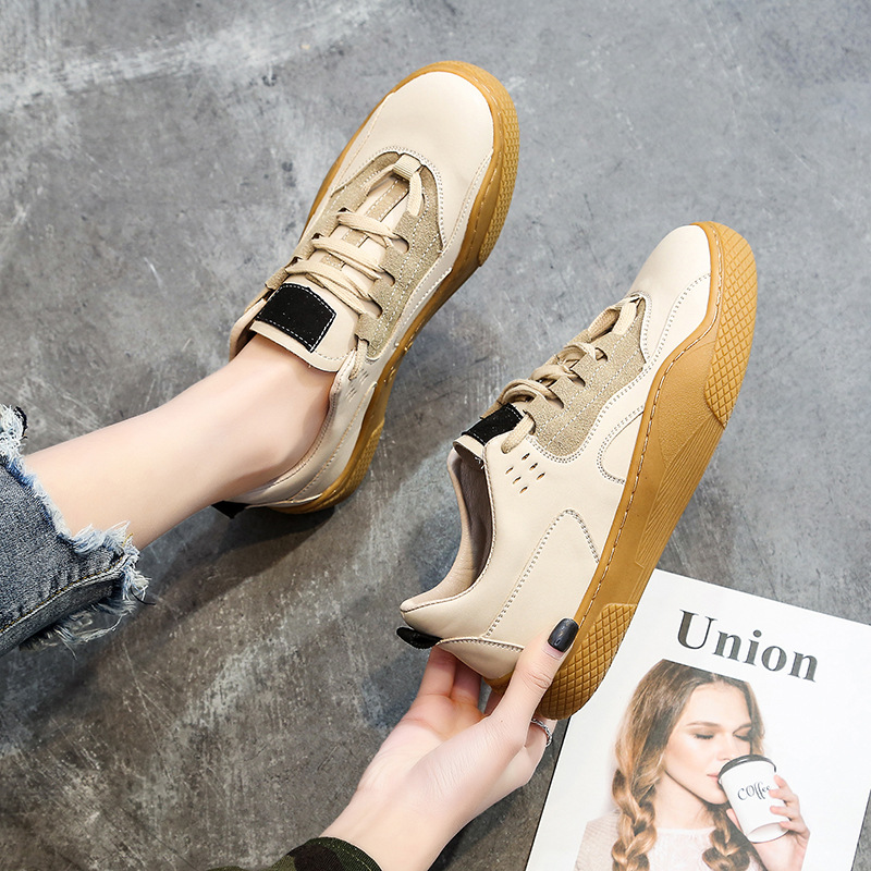 2019 Spring flat bottom running shoes female round head strap retro sports shoes students stitching women's sports shoes ZQ-114