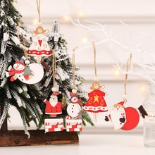 2Pcs Painted Wooden Pendants Xmas Tree Hanging Ornaments Christmas Holiday