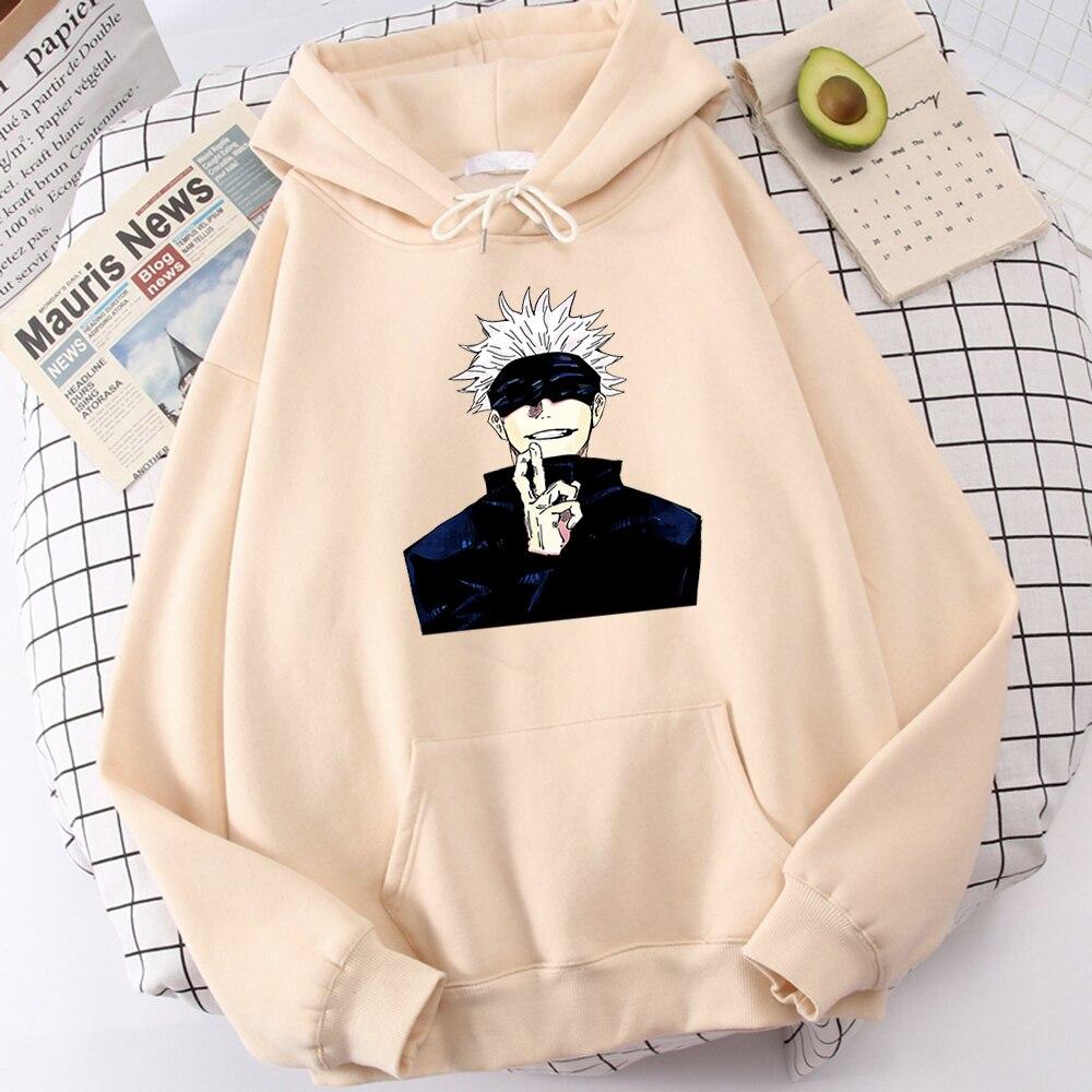 Anime Jujutsu Kaisen Print Men Clothing Personality Casual Sweatshirts Crewneck Pocket Hoodies Loose Fleece Autumn Hoody Men's