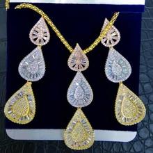 GODKI الفاخرة قطرة الماء مكعب الزركون النيجيري قلادة القرط مجموعات مجوهرات للنساء الزفاف الهندي دبي مجوهرات الزفاف مجموعات