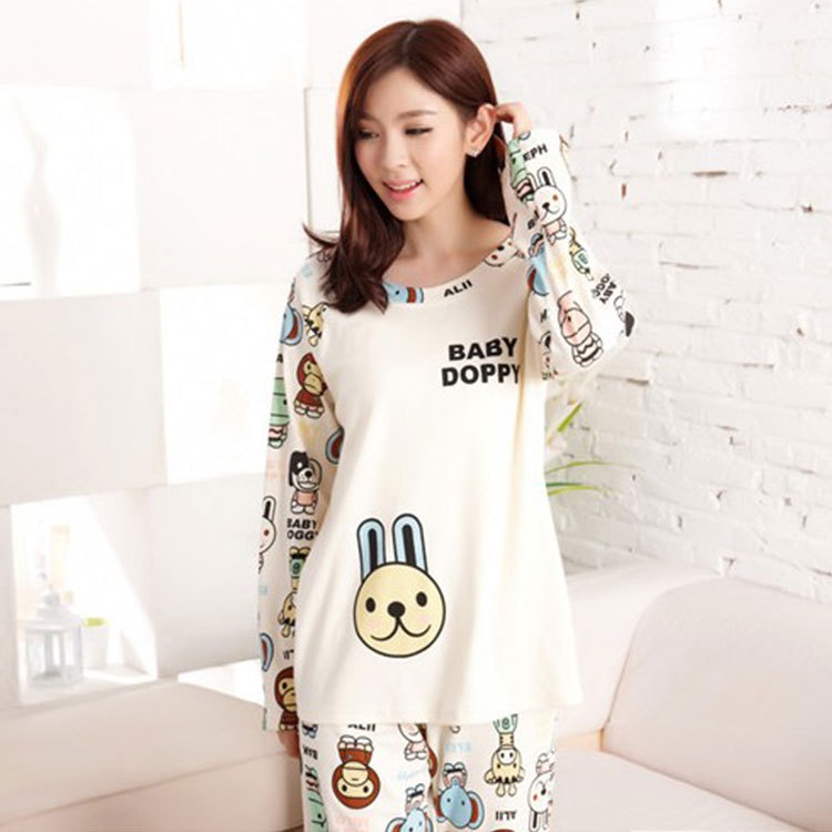 Pajamas Women Long Sleeve Pure Cotton Spring And Autumn Korean-style Large Size Loose-Fit-Outer Wear Fresh Students Thin Homewea