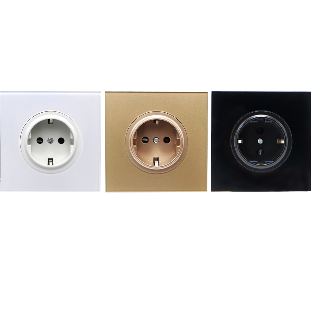 cheapest 16A EU Standard Wall Power Socket Crystal Glass Panel Electric Power Outlet Charger Adapter Panel