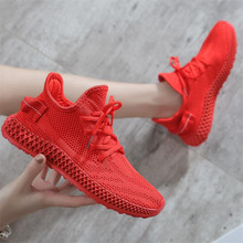 New women shoes candy color mesh comfortable light casual leisure flying woven technology feminism sneakers