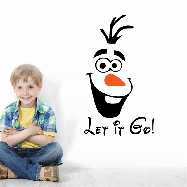 funny snowman olaf let it go wall stickers bedroom window home decor disney frozen wall decals vinyl mural art free shipping