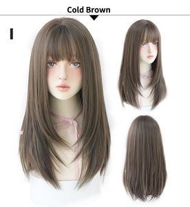 Image 5 - 7JHH WIGS Noble Light Brown Black Wigs For Women Long Remy Hair With Bangs For Girl Omber Brown Green Purple Wigs Wholesale