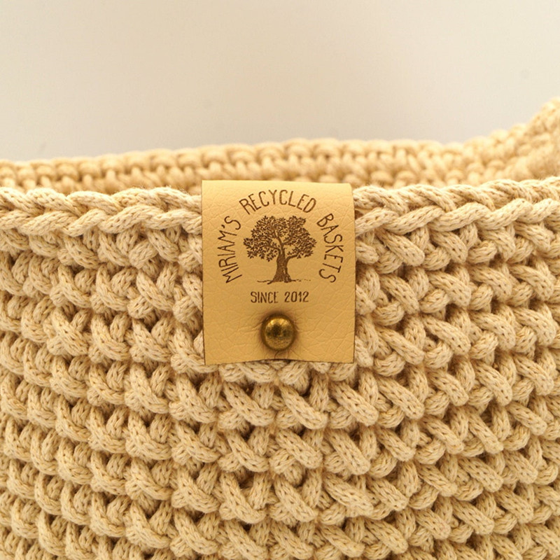 30pcs Brand logo handmade tags with rivets Custom Leather labels for knitting clothing Sewing crocheted knitted items DIY label
