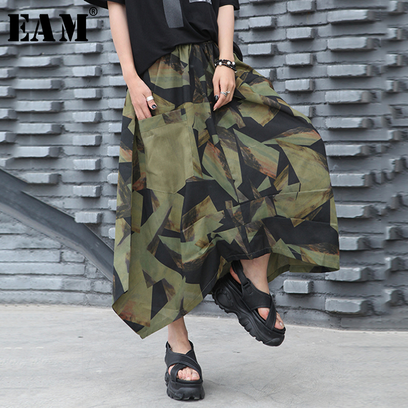 [EAM] High Elastic Waist Pattern Printed Pocket Asymmetrical Half-body Skirt Women Fashion Tide New Spring Autumn 2020 1T167