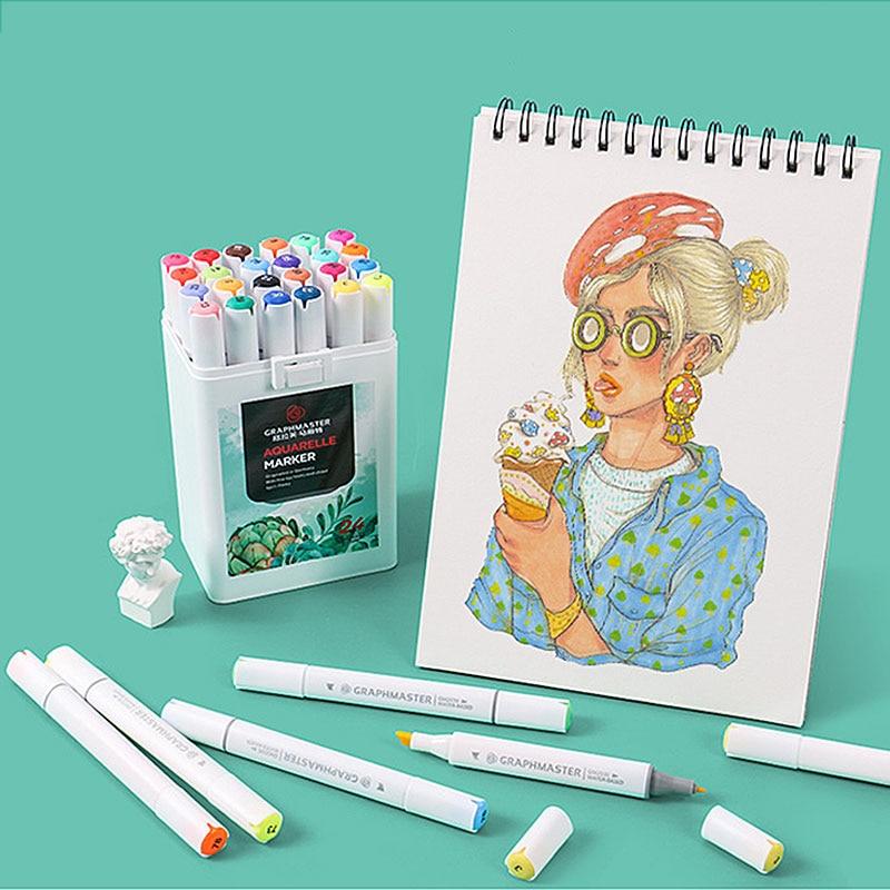 24/36 Colors Dual Head Marker Pen Watercolor Brush Pen Drawing Markers For Children Sketching Manga School Art Supplies