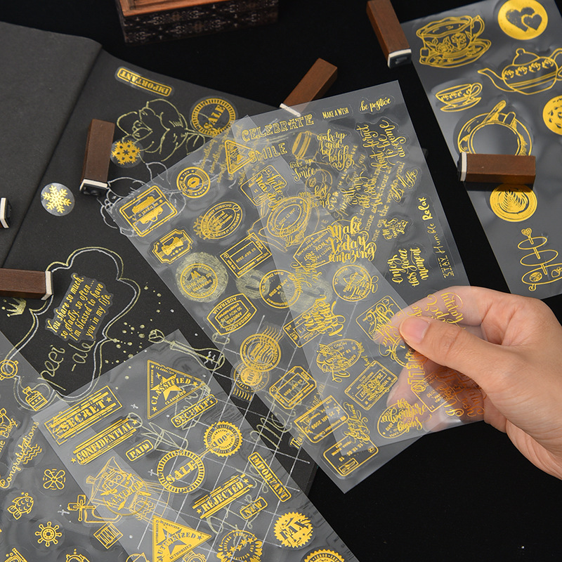 Vintage Hot Stamping Postmark English Decorative PET Golden Stickers Scrapbooking Stick Label Diary Stationery Album Stickers