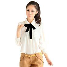 Women Long Sleeve Peter Pan Collar Chiffon Blous Bowtie Shirt New
