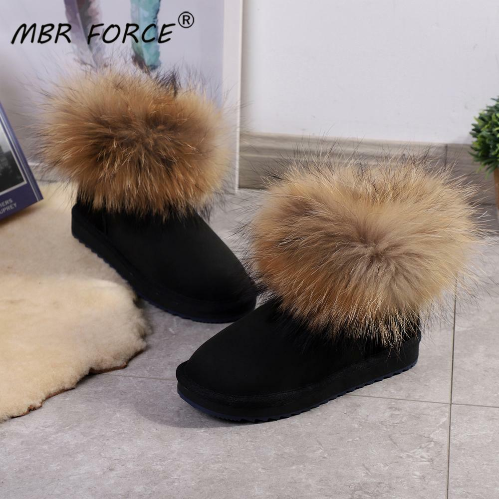 MBR FORCE Girls Fox fur Ankle Winter Suede Shearling snow boots for women genuine sheepskin leather Wool fur lined winter shoes