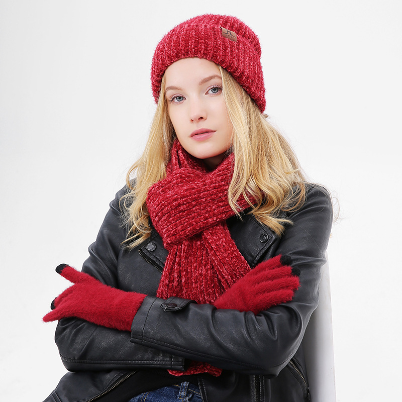 Chenille Winter Hat And Scarf Set For Women Girl 'S Hat Wool Hat Skullies Beain Female Cap And Scarves Gloves Set Red Color