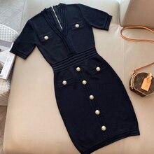 מעצב שמלה עבור גברת יוקרה באיכות גבוהה קצר שרוול שמלת לנשים V צוואר אמצע עגל ויסקוזה שמלה עבור גברת 2020 קיץ