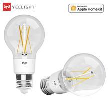 Yeelight bombilla de filamento LED inteligente E27, Bombilla inteligente de ahorro de energía ajustable con brillo para la aplicación de hogar inteligente Apple Homekit