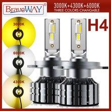 Braveway h4 conduziu lâmpadas dos faróis para o carro conduziu h4 canbus lâmpadas led 12v 24v 80w 12000lm feixe alto + baixo feixe 3000k + 4300k + 6000k