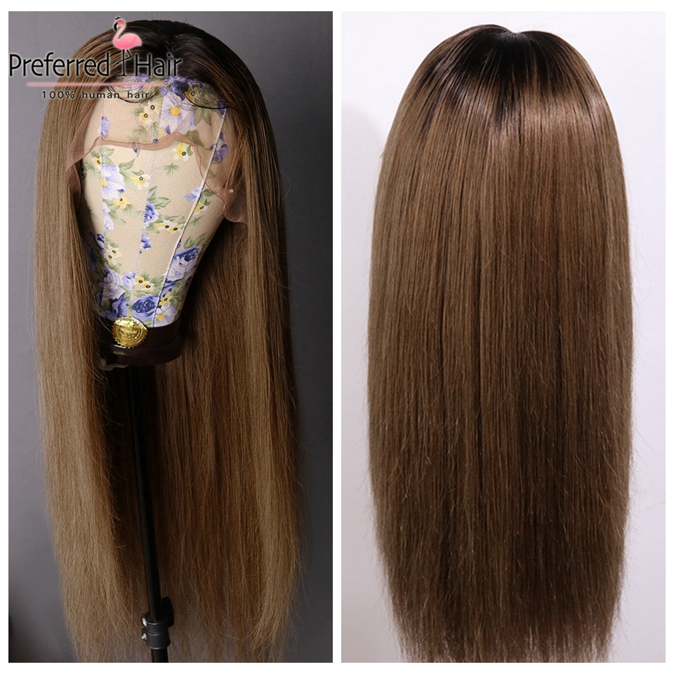 Preferred Remy Straight Lace Front Wig 13x4 Brown Ombre Human Hair Wig Brazilian Hair Lace Front Human Hair Wigs For Black Women