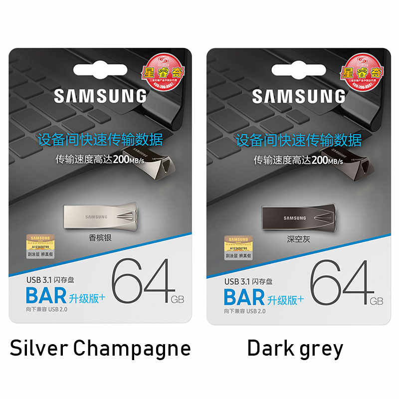 Samsung USB Đèn LED Đĩa 32GB 64GB 128GB 256GB USB 3.1 Kim Loại Mini Bút Pendrive thẻ Nhớ Thiết Bị Lưu Trữ Đĩa U