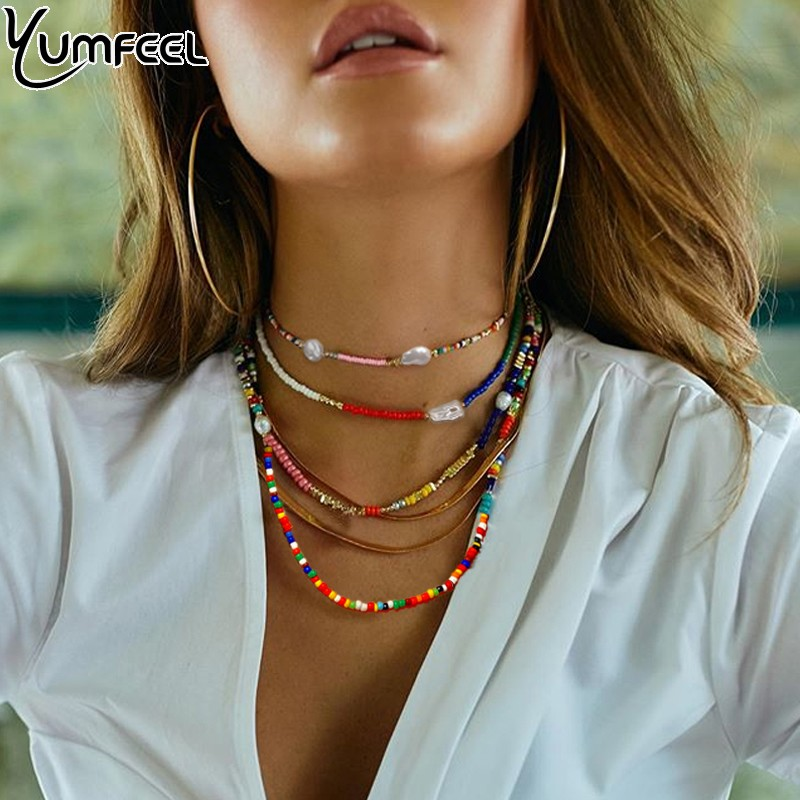 Yumfeel Brand Handmade Jewelry Seed Beads Necklace Women Bohemian Trendy Beaded Jewelry Choker Necklaces