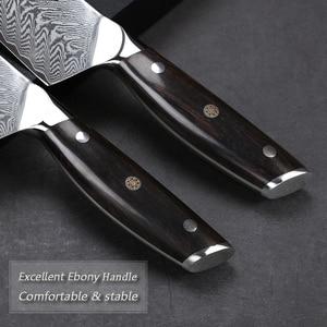 Image 5 - TURWHO 8.2 inç şef bıçağı japon şam çelik mutfak bıçağı Pro paslanmaz çelik Gyuto dilimleme et bıçak abanoz kolu