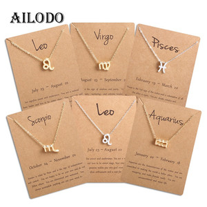 Ailodo Men Women 12 Horoscope Zodiac Sign Gold Pendant Necklace Aries Leo 12 Constellations Jewelry Kids Christmas Gifts 19NOV91(China)