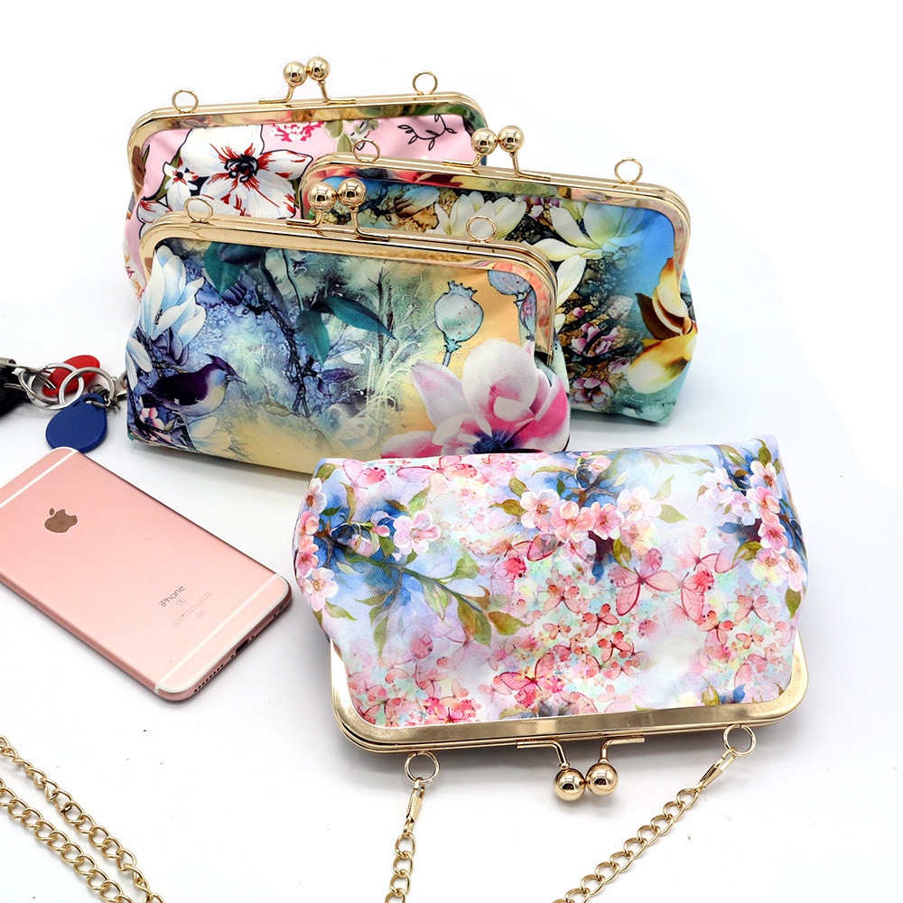 Dreamy Butterfly Flower Purse Creative Mobile Phone Bag Women's Oblique Bag Top Grade Mouth Gold Package