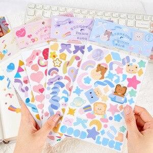 1Pcs Ins Style Cute Cartoon Celebration Ribbon Decoration Sticker Creative Stationary Diary Birthday Card Stick Korean Stickers
