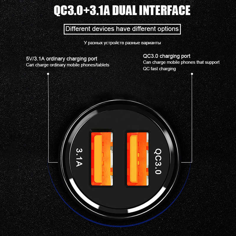 Suhach Charger Mobil Pengisian Cepat 3.0 untuk Iphone Samsung Xiaomi Mobil Cepat Pengisian QC 3.0 QC3.0 Ponsel Charger