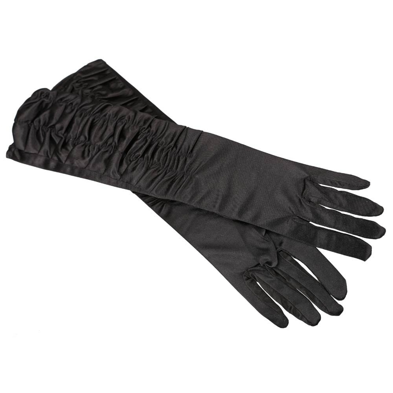 A Pair Long Stretch Satin Ruched Evening Gloves For Fancy Dress Costume - Black