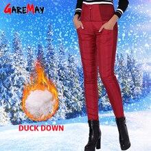 GareMay pantalones de invierno de terciopelo para mujer, pantalón Formal cálido, entallado, de cintura alta, con plumas de pato, de trabajo, color negro