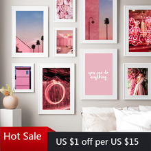 Canvas Painting Wall-Pictures City-Flower-Light Posters Aesthetic Room-Decor Photo Pink