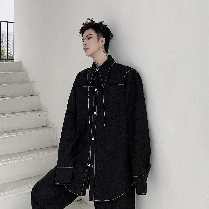 Men Line Decoration Casual Long Sleeve Shirts Male Japan Streetwear Long Collar Loose White Black Shirts